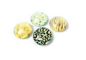 Glazen wild print magneten - set van 4 stuks