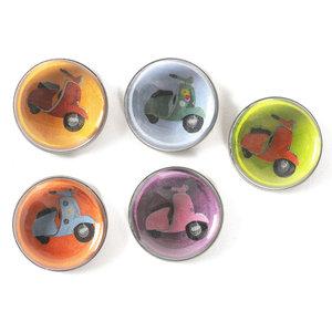 Scooter magneten van glas - set van 5 stuks