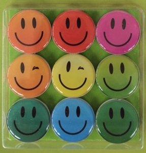 Smiley magneten neodymium - 9 stuks per set