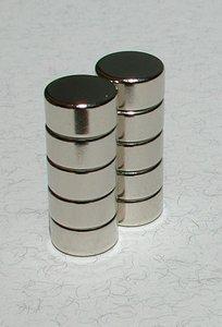Neodymium schijfmagneten 10 x 5 mm - per 10 stuks in een set