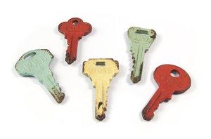 Magneet Colour Keys - set van 5 metalen sleutel magneten