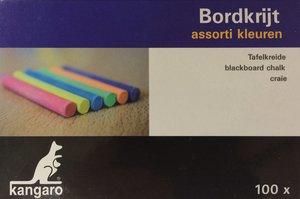 Schoolbordkrijt gekleurd - doos met 100 stuks