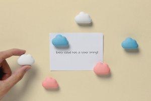 Wolken Magneten - set van 6 stuks - blauw/roze/wit