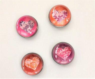 Hartjes magneten van glas - set van 4 stuks
