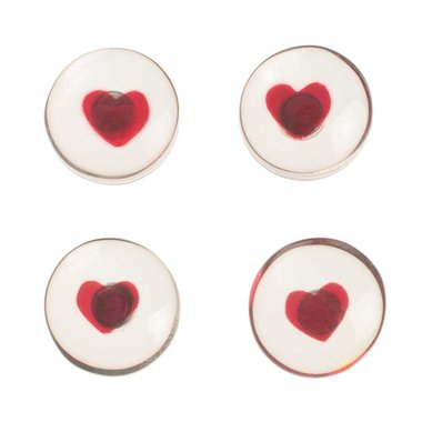 Harten magneten van acryl glas - 4 stuks per set