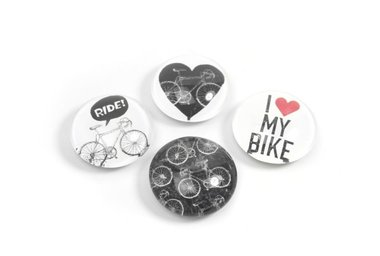 Mooie fiets magneten van glas Bike - set van 4 stuks