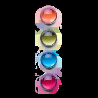 Zeer sterke gekleurde neodymium magneten van glas - set B van 4 stuks