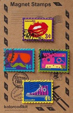 Metalen postzegelmagneten - Pop Art - set van 4 leuke magneten