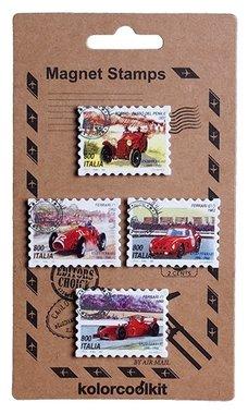 Magneet Postzegel, Italian Cars - set van 4 metalen postzegelmagneten