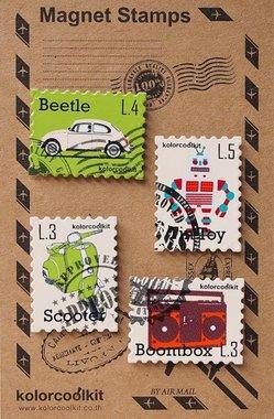 Postzegel magneten - Retro - set van 4 metalen magneten