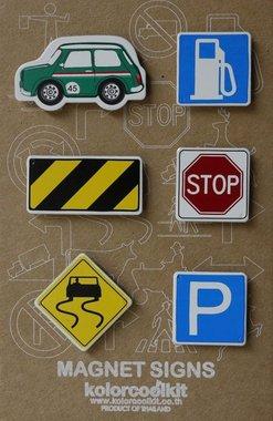 Magneet Cars & Signs, Mini Cooper green - set van 6 metalen magneten