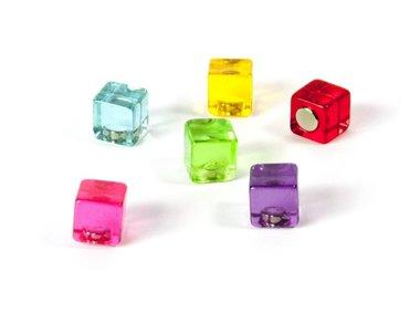 Kubus magneten Colour cube - set van 6 leuke magneet kubussen