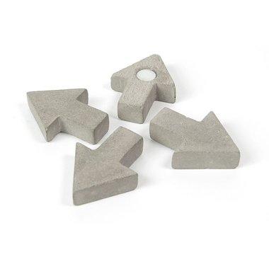 Pijl magneten Concrete - Arrow - set van 4 magneetpijlen van beton