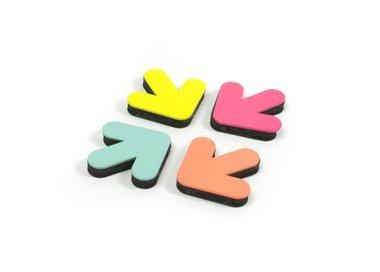 Pijl magneten van metaal in opvallende kleuren - set van 4 stuks
