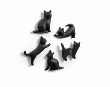Poezen magneten 'mauw - set van 5 stuks