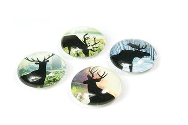 Glazen herten magneten - Deer - set van 4 glazen magneten
