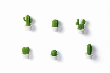Cactus magneten van Qualy witte pot - set van 6 stuks