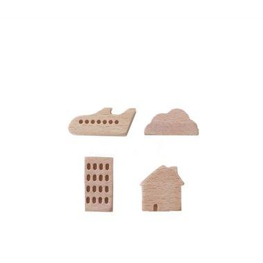 Small Ville Magneten Town - set van 4 houten magneten