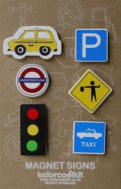 Magneet Cars & Signs, New York Yellow cab - set van 6 metalen magneten