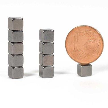 Sterke neodymium kubus magneetjes 5x5x5 mm Antraciet verchroomd - set van 10 stuks